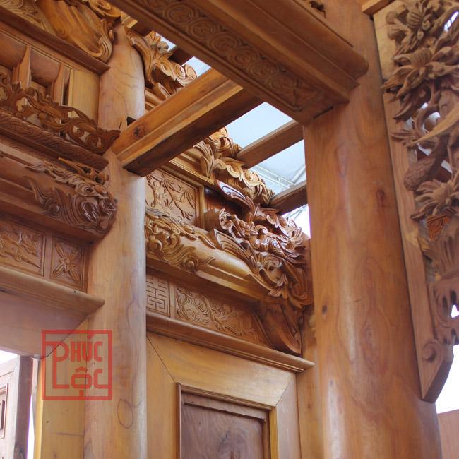 cột nhà gỗ mít, các chi tiết đục chạm đẹp