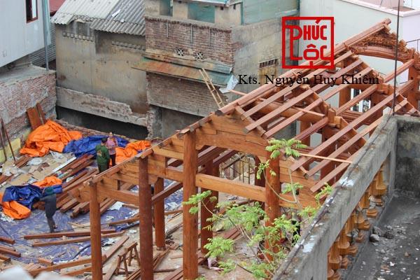 Tổng thể nhà gỗ Lim Lào kết hợp Hương Lào