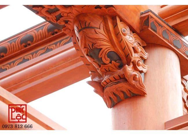 Hoa văn chạm khắc trên cấu kiện  nhà gỗ Lim 3 gian