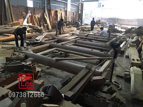 Lắp dựng nhà gỗ tại xưởng