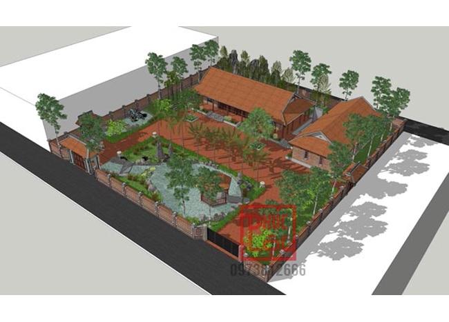 Phối cảnh nhà gỗ sân vườn phong thủy