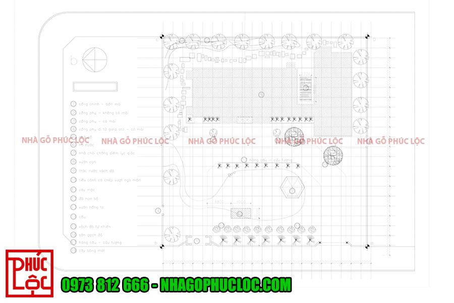 Bản vẽ tổng quan quần thể nhà gỗ