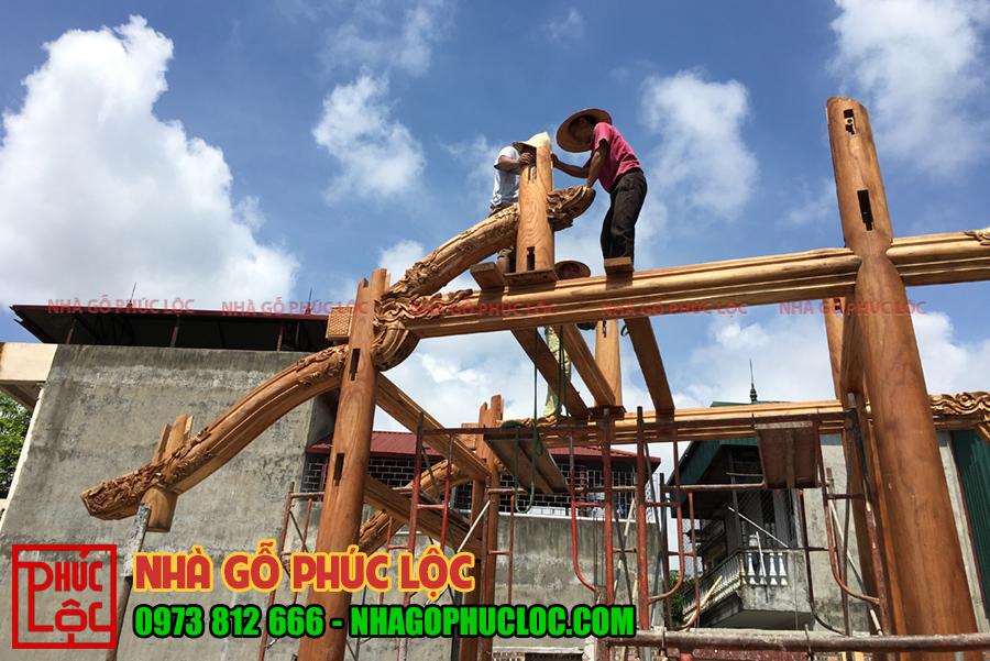 Quá trình lắp dựng nhà gỗ xoan 5 gian
