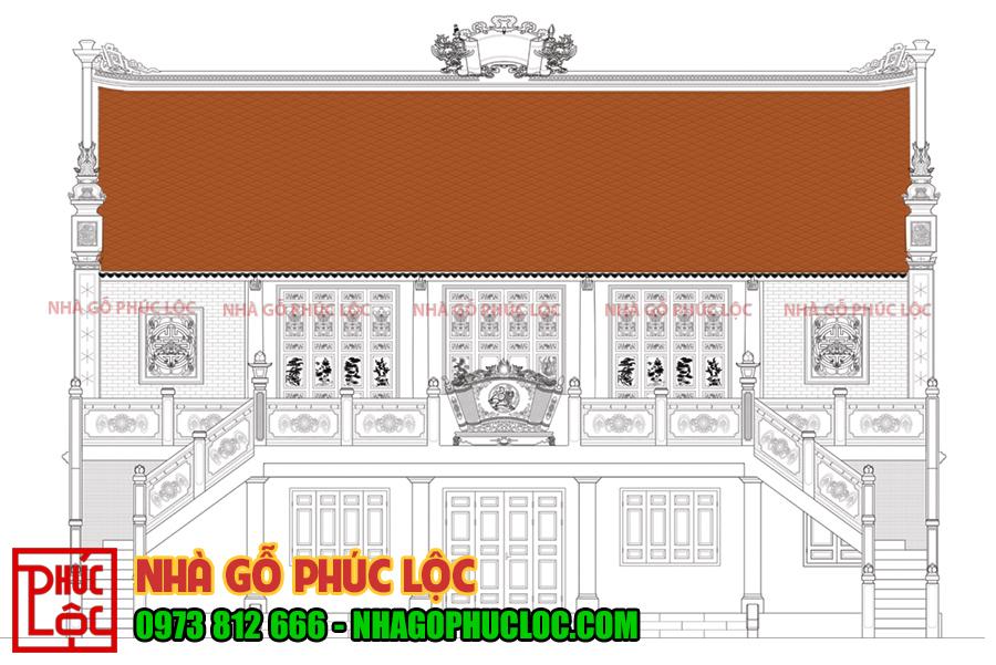 Hình ảnh bản vẽ tổng thể nhà gỗ lim 5 gian 2 chái xây gạch không trát