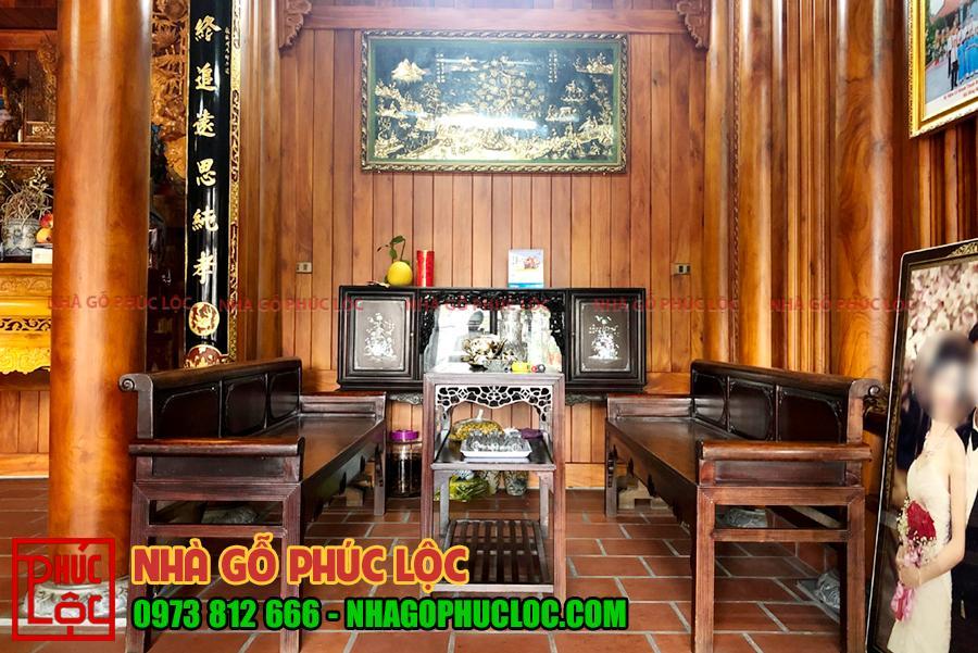Phía bên trong ngôi nhà gỗ mít 3 gian tại Văn Lâm Hưng Yên