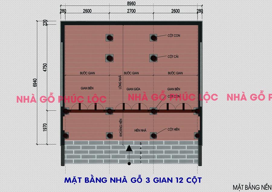 Kích thước nhà gỗ 3 gian