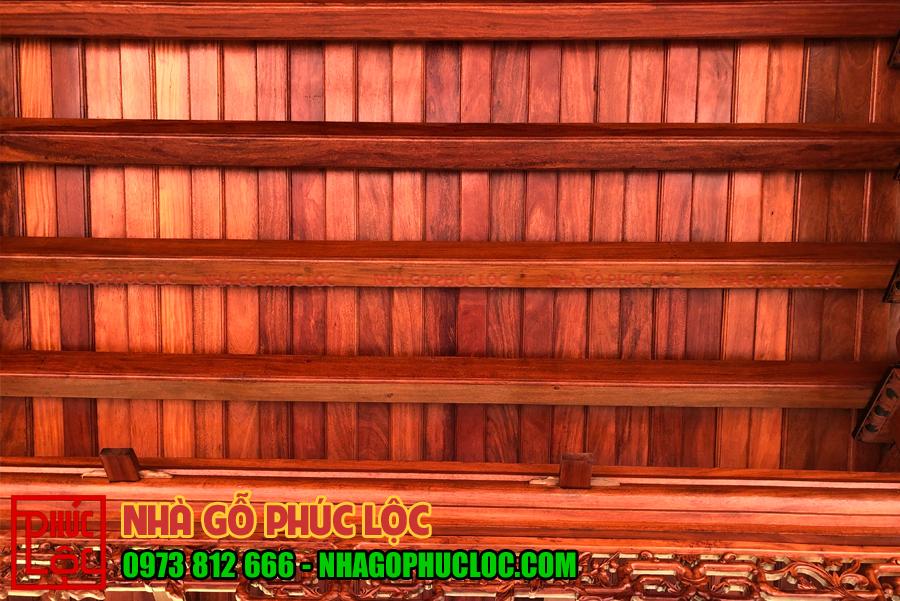 Hệ thống xà nóc của nhà gỗ 3 gian 4 mái