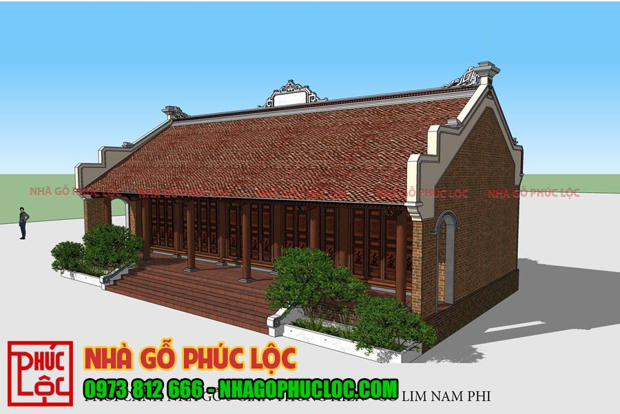Bản vẽ phối cảnh 3d của nhà gỗ lim 5 gian ở Bắc Ninh