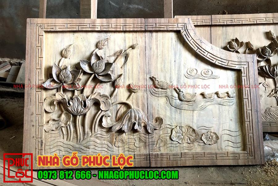Hoa văn được chạm khắc trên mẫu nhà gỗ lim 5 gian
