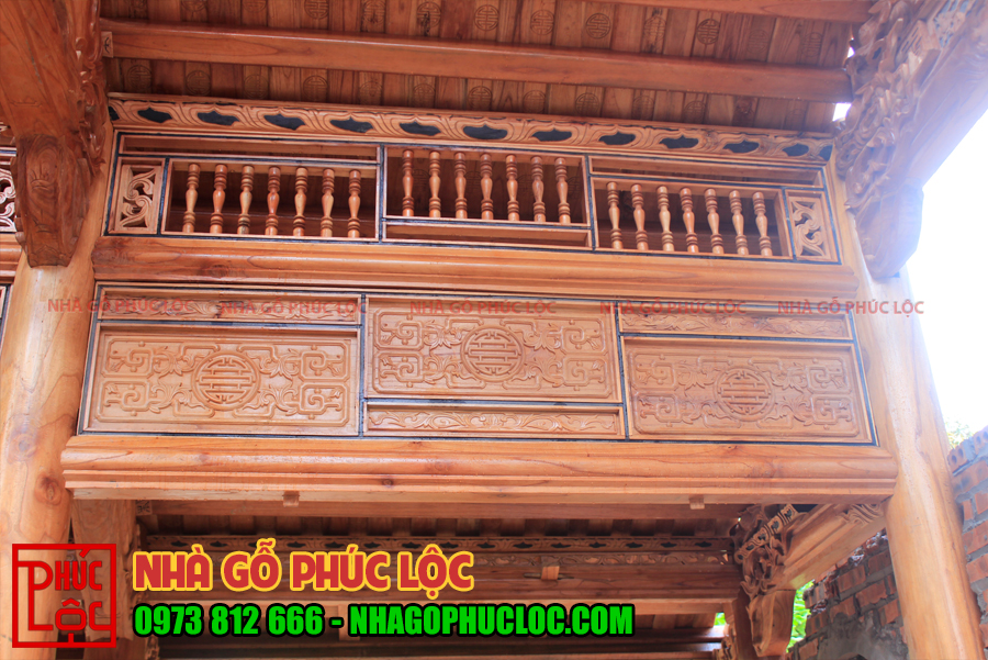 Hình ảnh khung song ô thoáng của mẫu nhà gỗ xoan