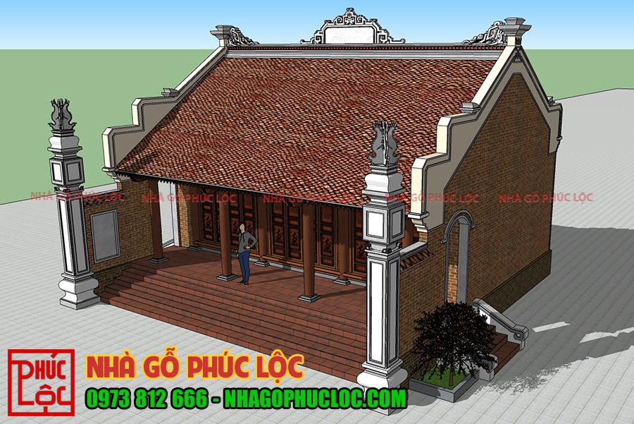 Bản vẽ phối cảnh nhà gỗ lim 3 gian