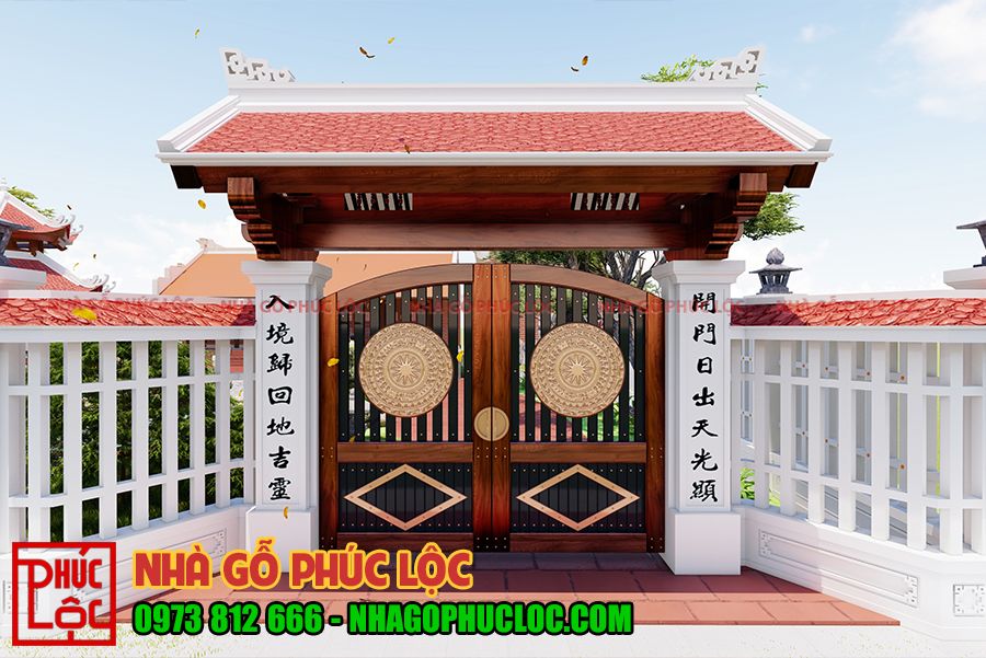 Mẫu cổng được thiết kế đẹp mắt với nhiều hoa văn nổi bật