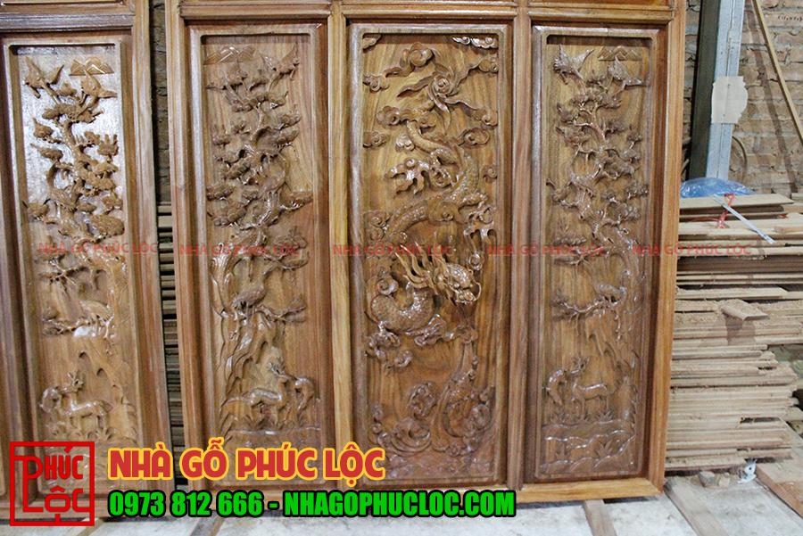 Hình ảnh tổng thể bức tranh tứ quý của nhà gỗ cổ truyền