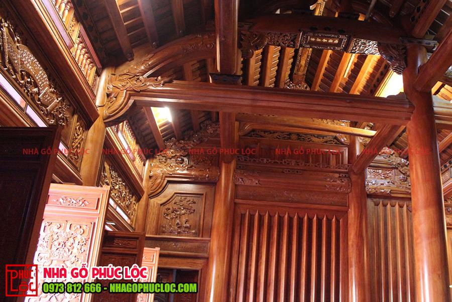 Chi tiết bên trong ngôi nhà gỗ truyền thống
