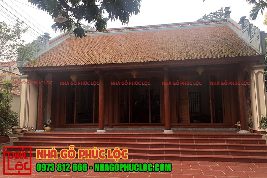 Hình ảnh tổng thể bên ngoài nhà gỗ 3 gian ở Bắc Giang
