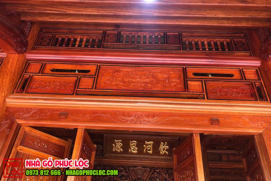Khung song ô thoáng của nhà gỗ lim 3 gian