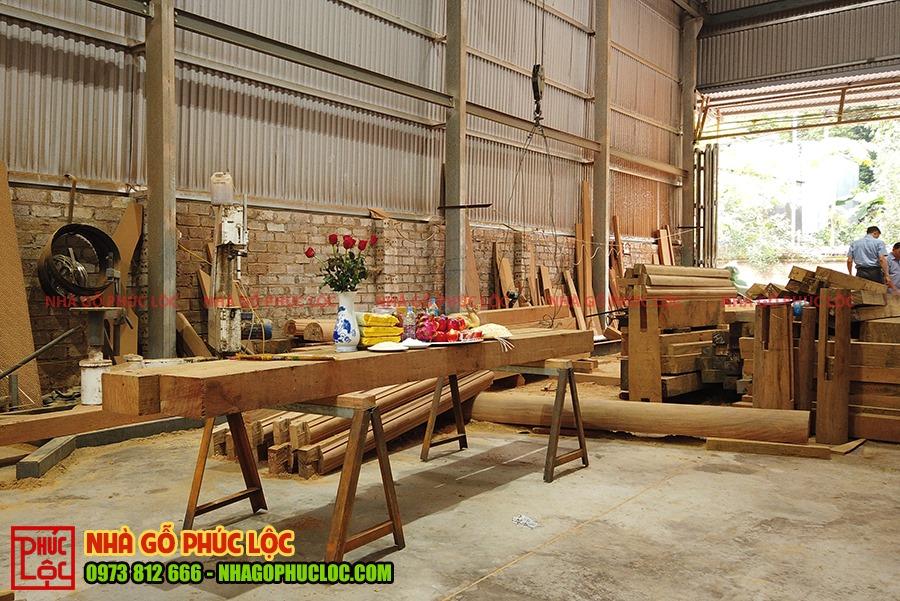 Mâm cúng lễ phạt mộc nhà gỗ lim 3 gian tại Bình Dương