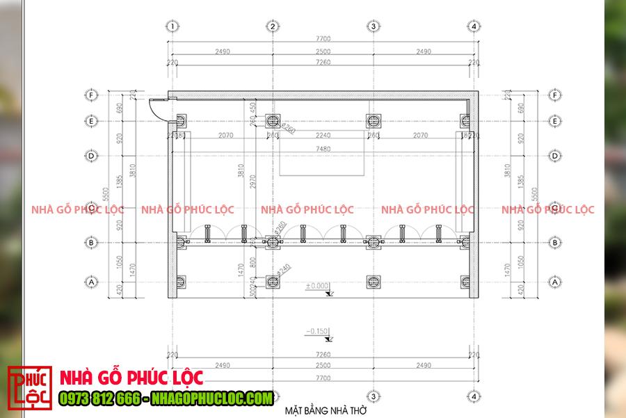 Bản vẽ của công trình nhà gỗ lim 3 gian 18 cột