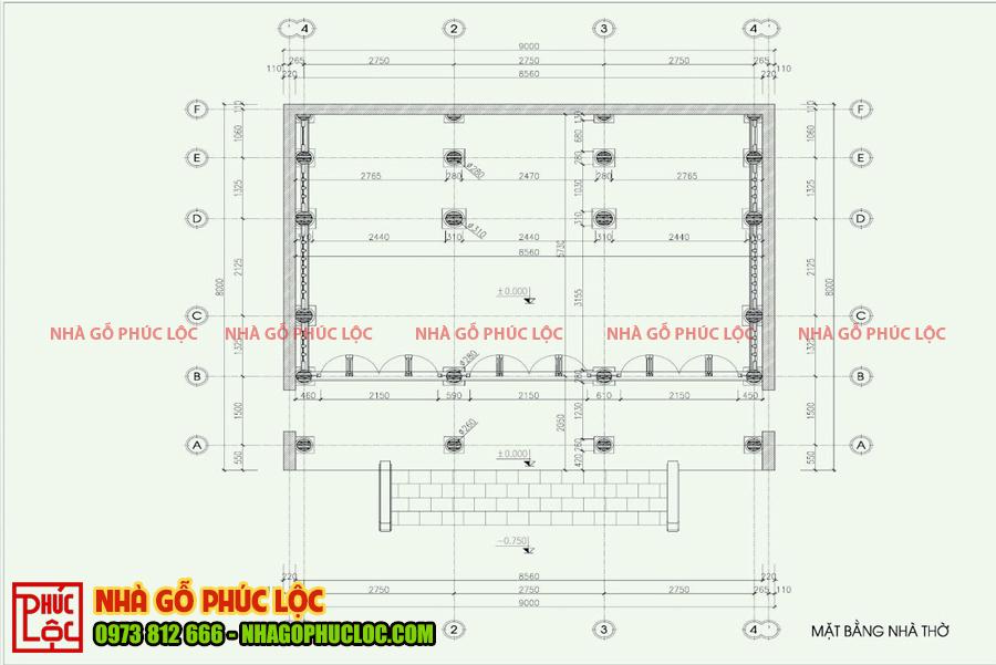 Bản vẽ nhà gỗ lim 3 gian 22 cột tại Thanh Hóa