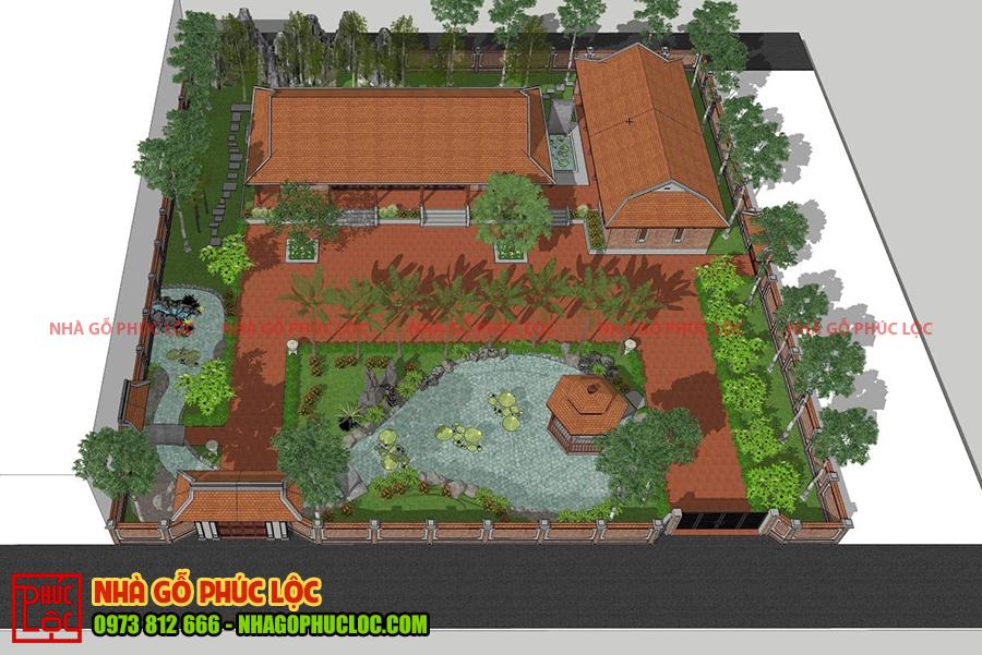 Bản vẽ 2D nhà gỗ sân vườn được các kiến trúc sư thiết kế