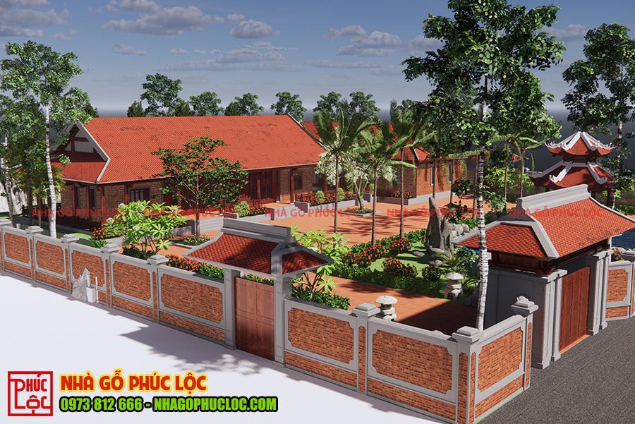 Bản vẽ 3D toàn bộ khu quần thể nhà gỗ