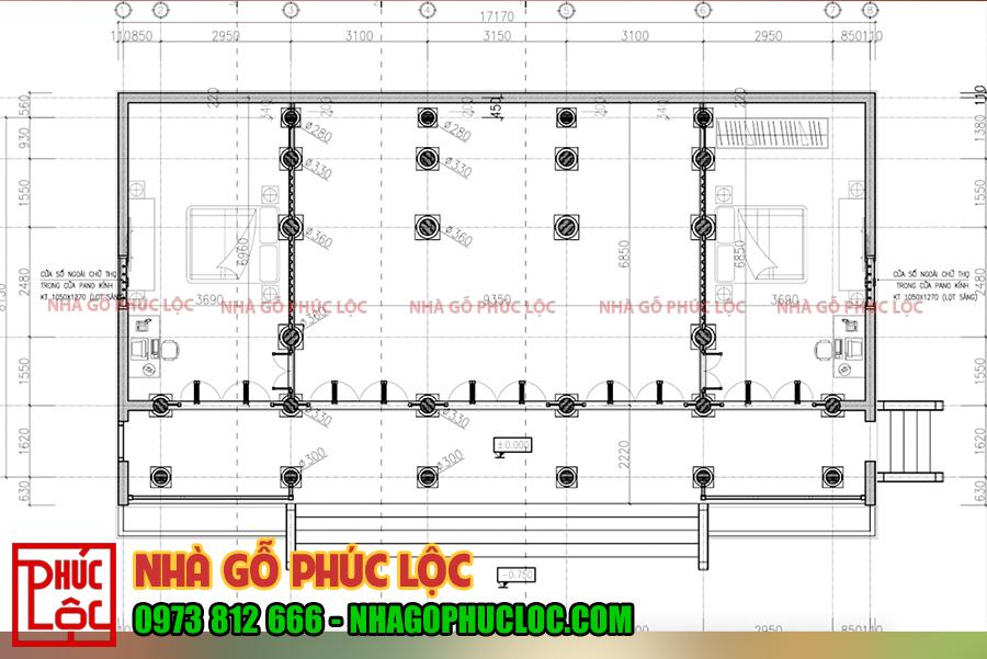 Bản vẽ mặt bằng bố trí cột nhà gỗ 5 gian