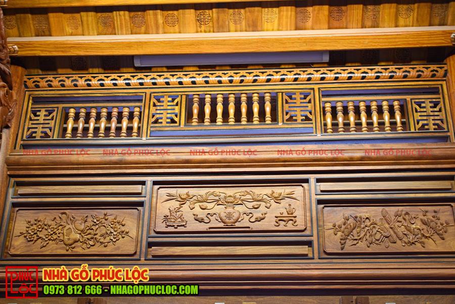 Phần khung song ô thoáng nhà gỗ lim 5 gian