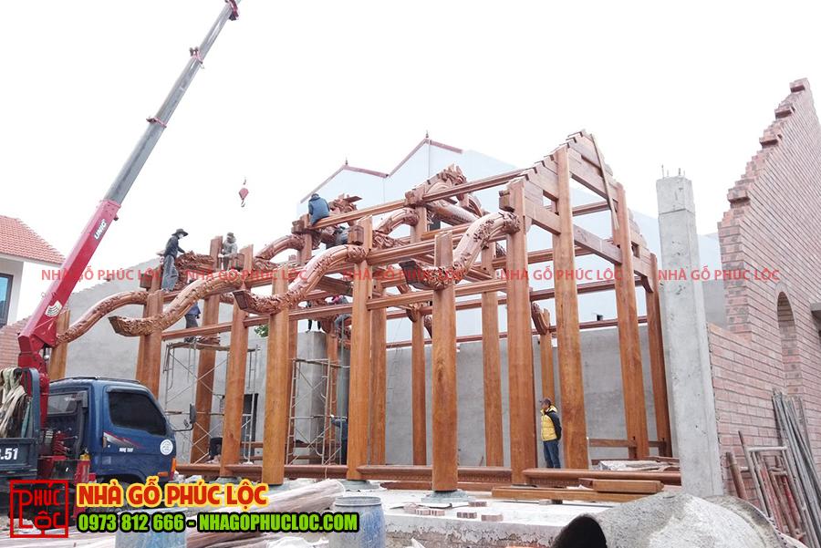 Căn nhà gỗ lim 5 gian cơ bản được hoàn thiện