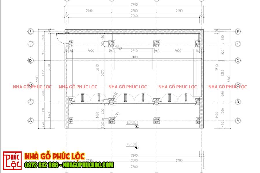 Mặt bằng nhà gỗ lim 3 gian