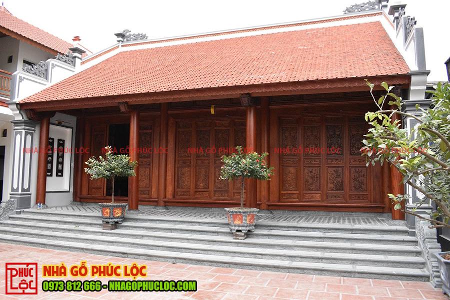 Tổng thể công trình nhà gỗ 3 gian tại Ecopark
