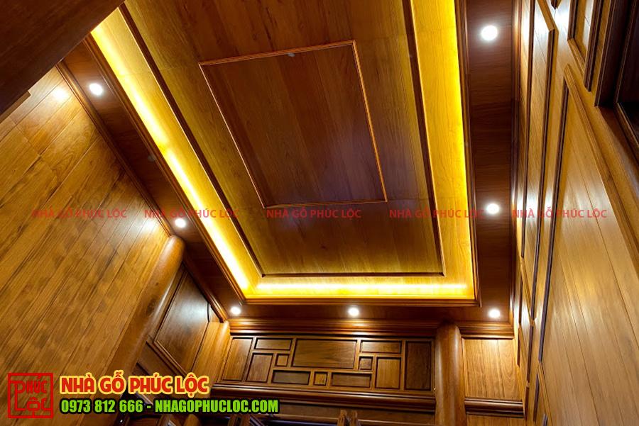 Trần nhà gỗ lim Lào 5 gian