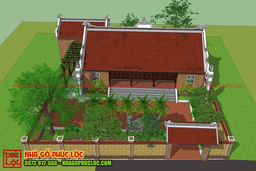 Bản vẽ 3D tổng thể nhà gỗ lim 5 gian