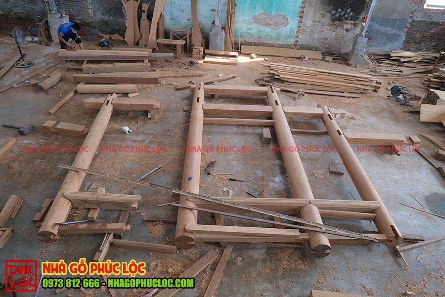 Hình ảnh các cấu kiện nhà gỗ 3 gian gõ đỏ