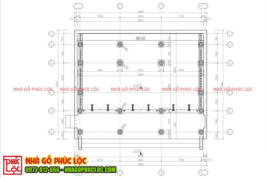 Bản vẽ thông số kỹ thuật nhà gỗ lim 3 gian tại Bình Dương