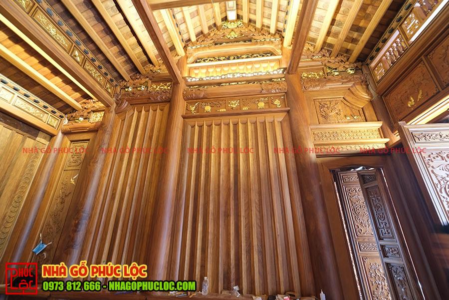 Vách thuận nhà gỗ 5 gian truyền thống