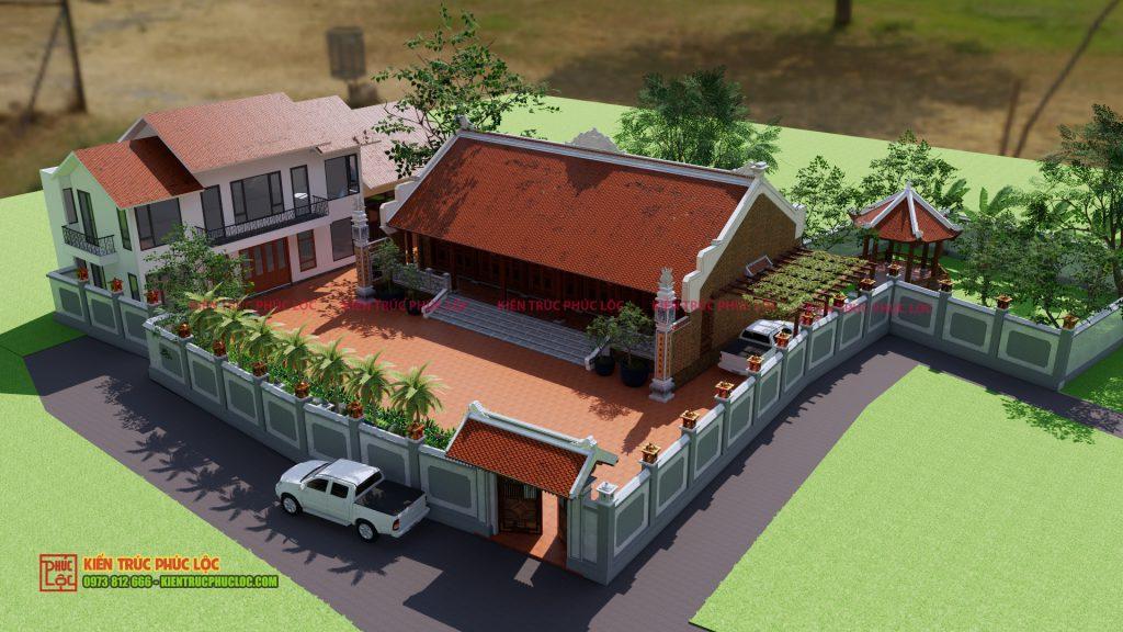 Bản vẽ 3D tổng thể công trình nhà gỗ 5 gian