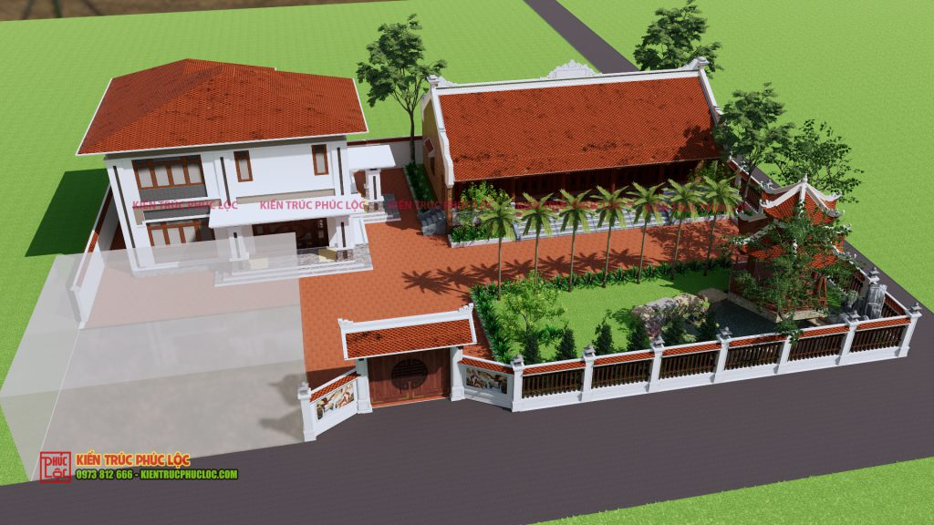 Tổng thể bản vẽ 3D công trình nhà gỗ 5 gian