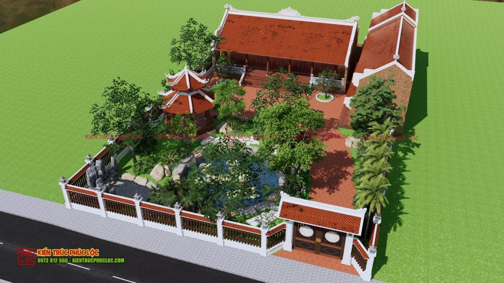 Bản vẽ 3D công trình nhà gỗ 5 gian