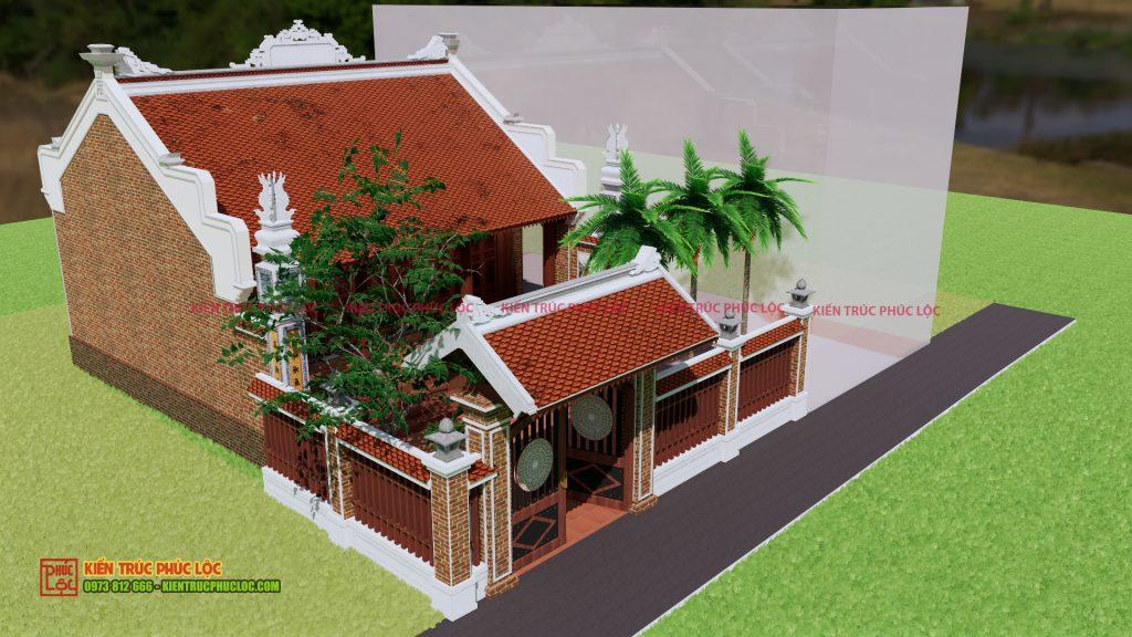 Tổng quan bản vẽ 3D công trình nhà gỗ 3 gian