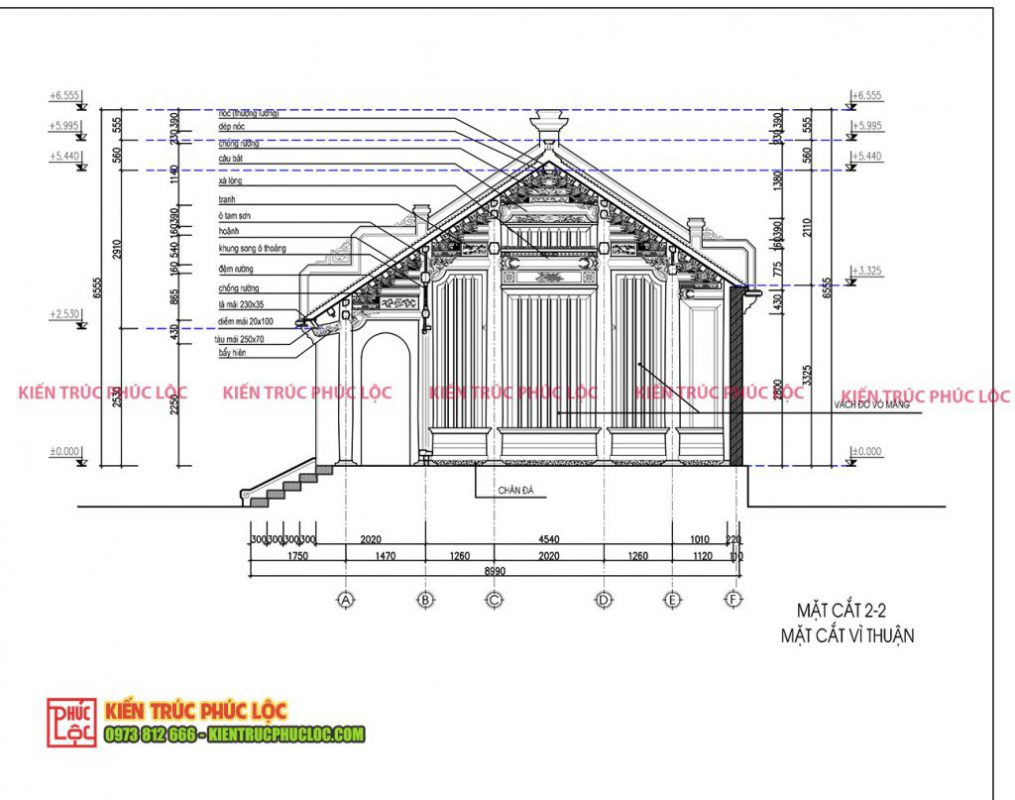 Mặt cắt vì thuận nhà gỗ