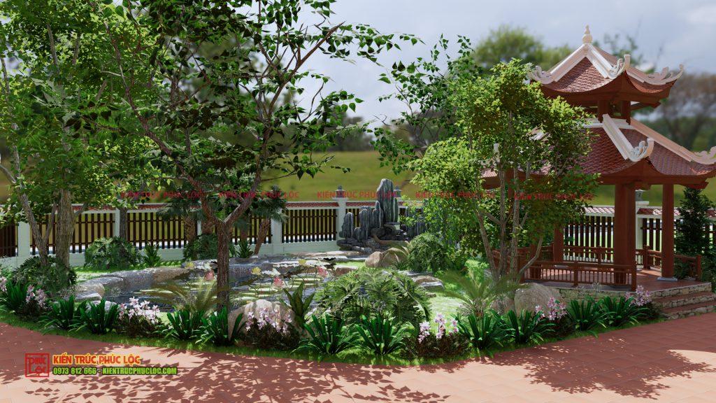 Phần sân vườn nhà gỗ