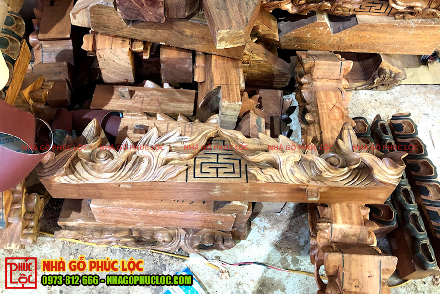 Các hoa văn chạm khắc nhà gỗ 3 gian
