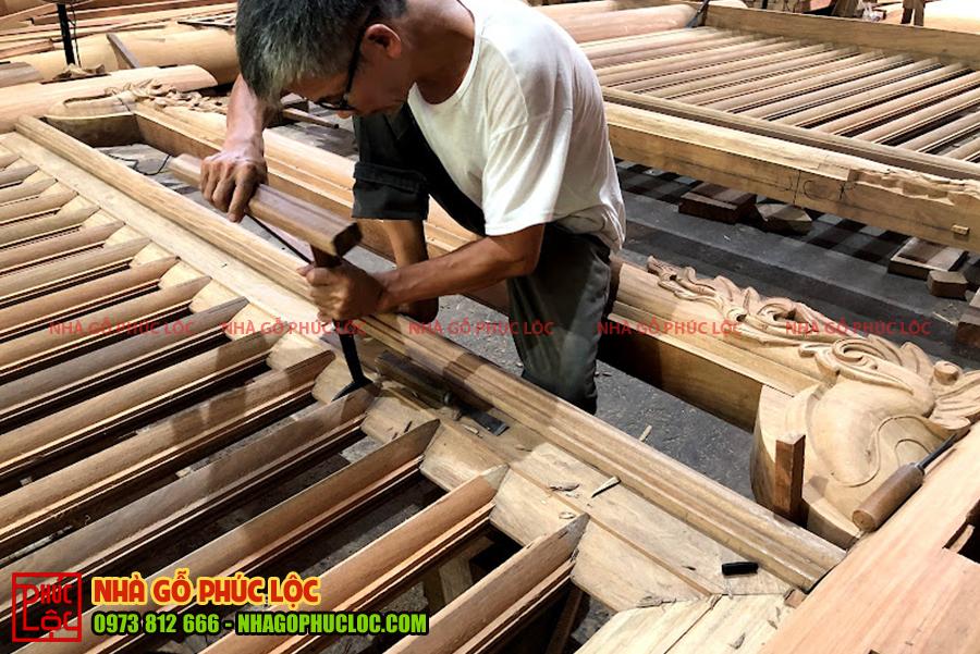 Hình ảnh xàm đóng của nhà gỗ 3 gian
